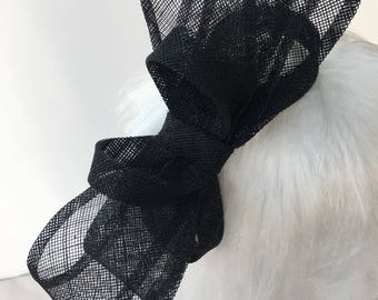 Large Bow Fascinator Hair Clip (Shown in Black - other colours available)