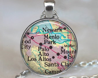 Palo Alto map pendant, Menlo Park, CA map pendant, Los Altos map pendant, Neward, CA, Palo Alto map necklace travel map keychain key chain