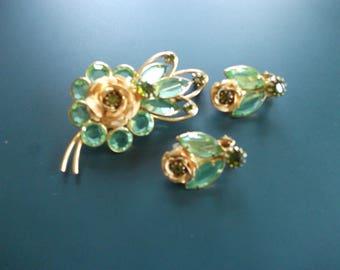 Vintage Signed Hobe Green Glass Crystal Rhinestone Mesh Flower Brooch & Matching Clip Earrings Demi Parure