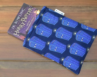Handmade with Dr Who Tardis Comic print fabric book sleeve keeper paperback cover book lover gift