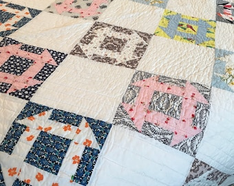 Quilt Vintage Hand Quilted Monkey Wrench Cotton Quilt 66 x78