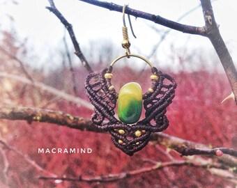 Macrame earrings with beautiful agate stones-Green Yellow agate-Festival Earrings-Wild Spirit Jewelry-Psy Princess-Macramind