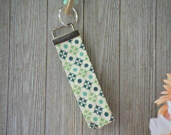 Flower Key Fob, Key Chain, Key Ring, Wristlet, Green