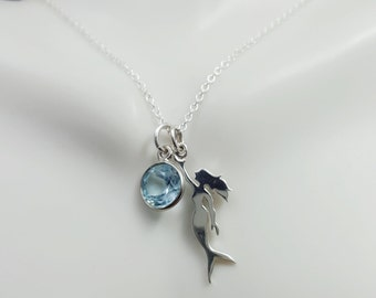 Mermaid Necklace. Sterling silver Mermaid necklace. Siren necklace. Water spirit. Blue Topaz necklace. Mermaid jewelry. The little mermaid