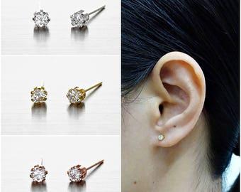 925 Sterling Silver Earrings, CZ Earrings, Cubic Zirconia Earrings, Gold Plated, Rose Gold Plated, Stud Earrings, Size 3 mm (Code : EG46A)