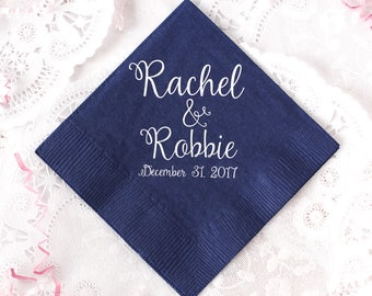 Wedding Napkins, Personalized Napkins, Anniversary Napkins, Wedding Favors, Custom Napkins, Gold Foil, Shower Napkins, Wedding Napkins