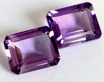 5.30 Cts Natural Amethyst Octagon Cut Pair 10x8 mm Lustrous Purple Loose Gemstones