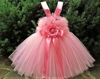 PRINCESS PINK - Tutu Dress - Flower Girl Gown - Pageant Girl Dress - First Birthday Tutu - Pink Tutu Dress - Princess Pink Tutu Dress -