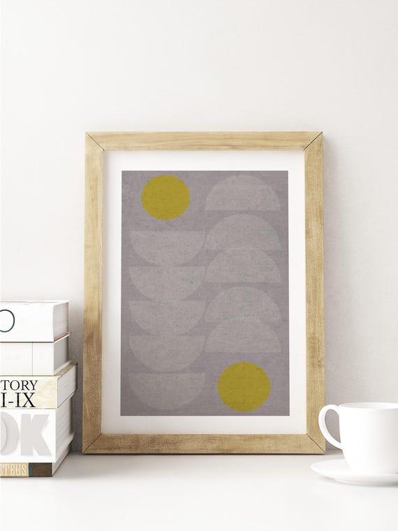 QUEUE LEU LEU // Poster, Abstract art, 12x18, minimalist art print, geometric print, mid century, Scandinavian style, half circles, pastel