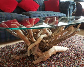 Oval Natural Driftwood Glass top Coffee table