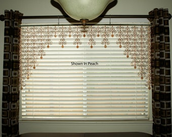 60 x 28  Solid Copper Sun Catcher Swirl Valance Curtain Wall Hanging