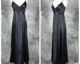 Black satin disco dress, empire waist, long maxi length gown, small