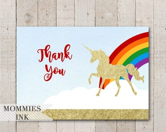 Unicorn Thank You Note, Magical Unicorn Thank You Card, Gold Unicorn Thank You, Rainbow Unicorn, Magical Unicorn, Unicorn Party, Birthday