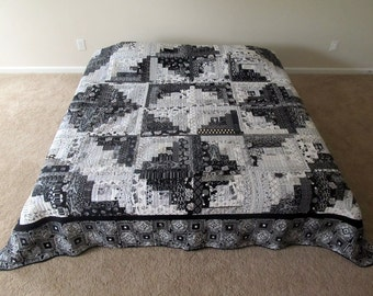 MADE TO ORDER Black & White Star Log Cabin Queen-Sized Bed Quilt
