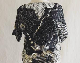 Vintage Silver Sequined Blouse