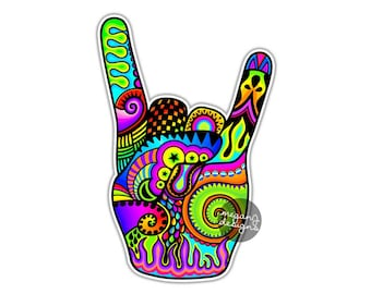 Rock On Sign Hand Sticker Rock and Roll Decal Colorful Car Decal Laptop Decal Wall Art Music Heavy Metal