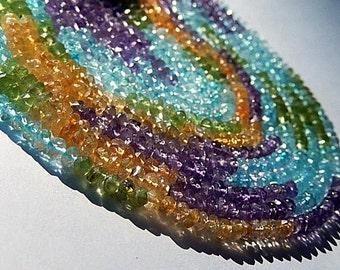 Multi Gemstone Mix. Semi Precious Gemstone Bead. Amethyst, Peridot, Citrine, Aquamarine Rondelle Gemstone, 4mm  Strand Your Choice. (agem)
