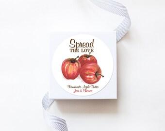Apple Bunch Wedding Favor Stickers  - Custom Labels // Watercolor Fruits