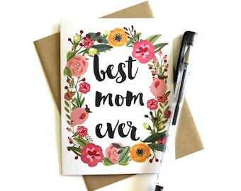 Mother's Day Card - Card for Mom, Floral Mother's Day Card, Birthday Card for Mom, Happy Mother's Day, Mother Card