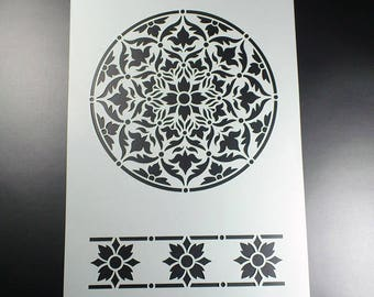 Stencil A4 Ornament Rosette border-BS08