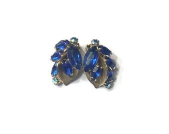 Blue Rhinestone Earrings, Signed Weiss Faux Sapphire Earrings, Clip Earrings, Costume Jewelry, Wedding Bridal Jewelry