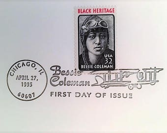 FDC Bessie COLEMAN 1st African American Aviatrix, Postmark April 28,1995 Warren, Ohio; MINT Condition First Day Cover.