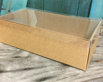 Heavy Kraft Cardboard Boxes set of 10- Clear Top - Extra Large- 11 1/2 X 6 X 3 3/8