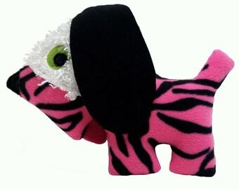 Pink Zebra Stripe Dog with White Fur Patch