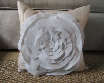 French Rose Pillow in Khaki and French Blue Linen