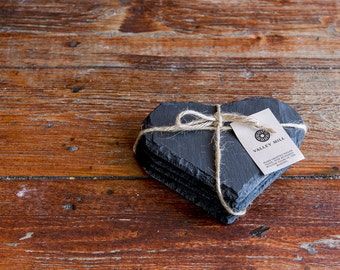 Welsh Slate coaster set Heart
