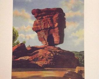 Balanced Rock Garden of the Gods Colorado Vintage Print Art Pristine