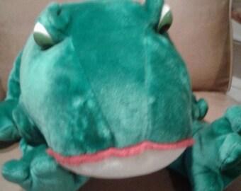 Large Vintage Big Eyed Gerber Plush Frog/ Made In Korea