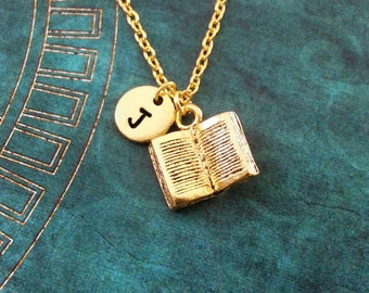 Book Necklace SMALL Open Book Jewelry Reading Gift Teacher Gift Teacher Necklace Librarian Gift for Writer Gold Book Charm Jewelry Book Gift