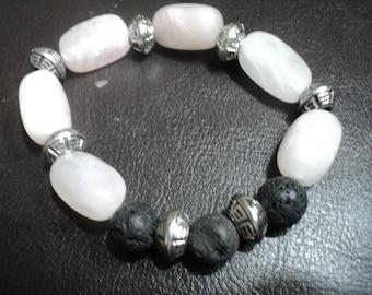 Bracelet Rose Quartz and Aromatherapy Lava Beads (1798)