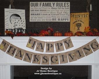 Happy Thanksgiving Banner, Fall banner, Fall photo prop banner, Autumn garland, Thanksgiving Decor, Fall decoration banner