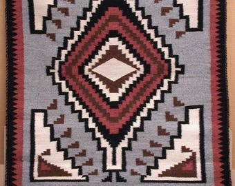 AMERICAN SOUTH-WEST, Navajo Nation. Original Hand-Woven Wool Rug. 34 x 29 inches.