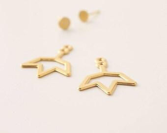 Sun Ear Jackets, Gold Jacket Earrings, Sun Stud Earrings, Front Back Earrings, Gold Front Back Earrings, Gold Ear Jackets, Boho Earrings