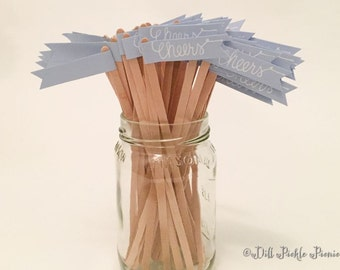 25 Light Blue Drink Stirrer Sticks with Calligraphy Cheers - cocktail length