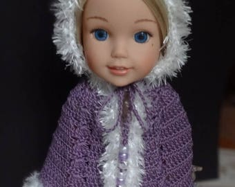 Crochet Hooded Cape for 14 15 inch AG Wellie Wishers H4H Doll Purple white Fun Fur trim