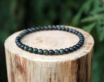 Russian Serpentine Bracelet, Serpentine Bracelet, Green Bead Bracelet, Gemstone Bracelet, Beaded Bracelet, Men's/Women's Bracelet