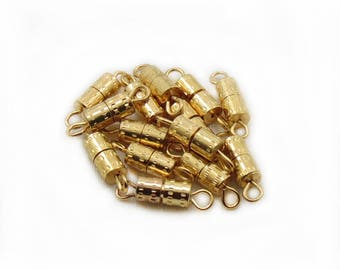 10pcs Screw Clasps, Gold Plated Screw Clasps, 15mm Barrel Clasps, Gold Plated Findings, Making Jewelry, DIY Craft Supplies