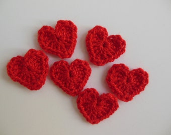 Red Crocheted Hearts - Acrylic - Crocheted Appliques - Crocheted Embellishments - Set of 6
