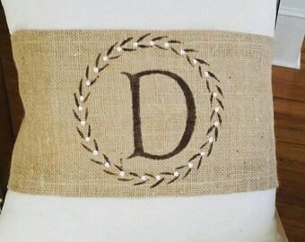 Monogram pillow wrap with burlap
