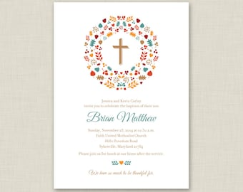 Fall Baptism Invitation / Printable Baptism Invitation