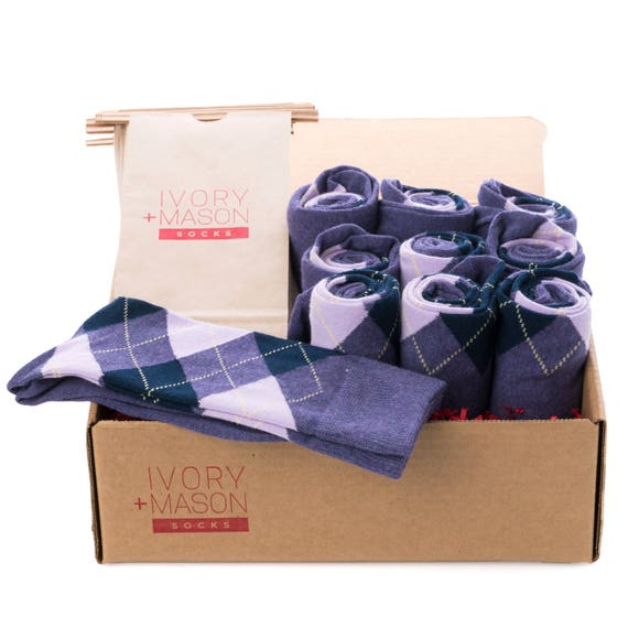 Groomsmen Socks Kit - Grey Purple Argyle - Premium Cotton - 8 Pairs ggPz3YIUUQ
