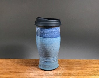 22 oz , To Go Mug ,Handmade Pottery, Mug With Lid , Ceramic Travel Mug , Commuter Mug , Pottery Travel Mug , Eco Mug , Reusable Silicone Lid