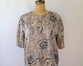 1990s pink print silk blouse by Classiques