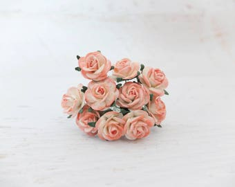 10 20mm mulberry coral tip rose - 2 cm paper flowers