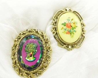 Two Vintage Ladies Brooch Pin and Pendant Combo