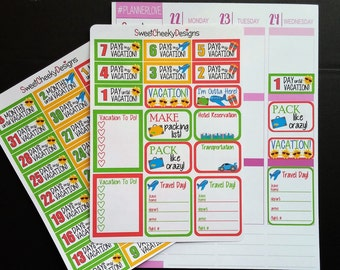 Vacation Countdown Stickers!  Perfect for Erin Condren Life Planner, Mambi/Happy Planner, Plum Planner, Etc.